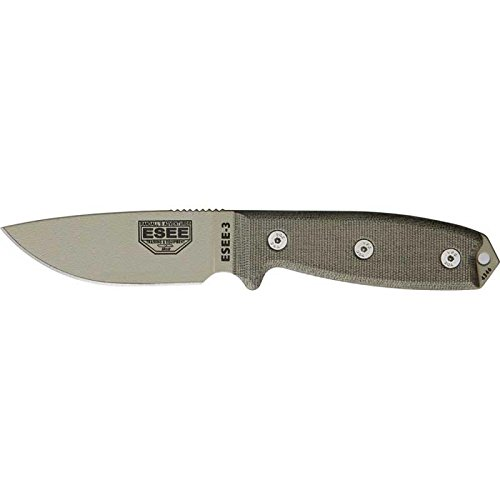 ESEE-3P-DT-Fixed-Blade-Knife-with-Desert-Tan-Coated-Blade-and-Foliage-Green-Molded-Polymer-Sheath-and-Clip-Plate