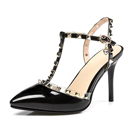 Allhqfashion Women's Buckle Closed Toe Spikes Stilettos Pu Solid Sandals Black tFXqmsbL