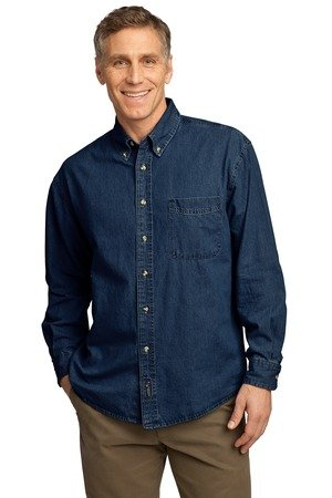 Port & Company Men's Long Sleeve Value Denim Shirt XL Ink Blue