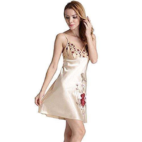 Bordada Verano Con En Fashionista Mujer V Albornoz Lujo Transpirable Cómoda Elegante De Sedoso Casa Y Honda L Cuello Oro w5OqExq
