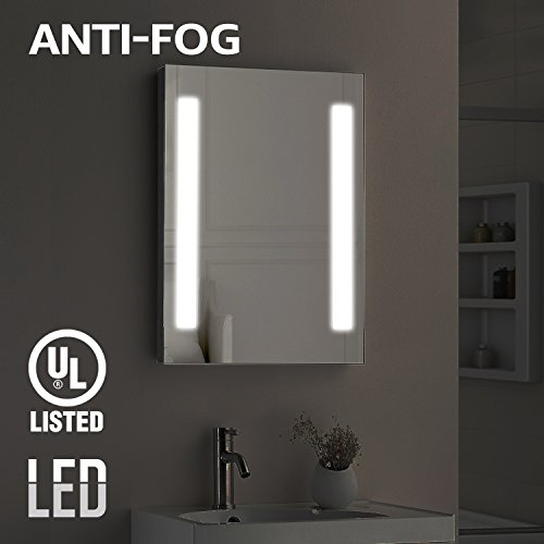 Mercury Wall Vanity - Fogless LED Illuminated Mirror Bathroom, UL-listed Wall Mounted Backlit Mirror 32' x 24' with 2 Lighted Ring