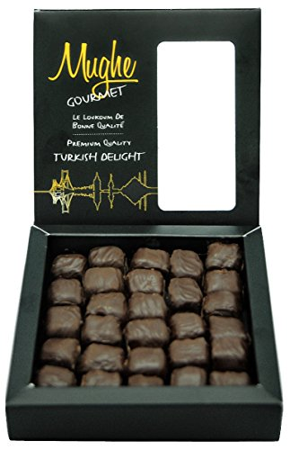 Luxury Chocolate Coated Turkish Delight w/ Pistachio Gourmet Gift Box - Chocolate Pistachio Delight - Taste the Unique, ORIGINAL Most Prestigious Turkish Delight / Gift Box (30-32 Pcs) - Mughe Gourmet