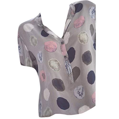 TUSANG Womens Tees Casual Print V-Neck Short Sleeve T-Shirt Tees Blouse Tops Plus Size Slim Fit Comfy Tunic(Gray,US-18/CN-5XL)