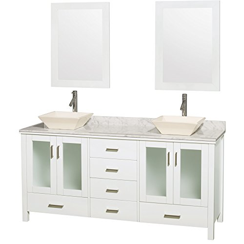 Wyndham Collection Lucy 72 inch Double Bathroom Vanity in White, White Carrara Marble Countertop, Pyra Bone Porcelain Sinks, and 24 inch Mirrors