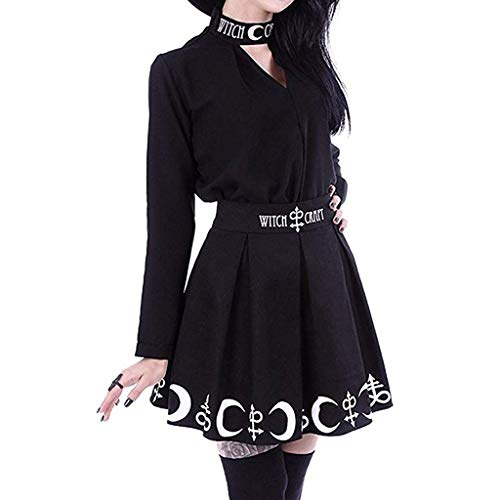 - FAPIZI Women Summer Gothic Punk Witchcraft Moon Magic Spell Symbols Pleated Mini Skirt Black