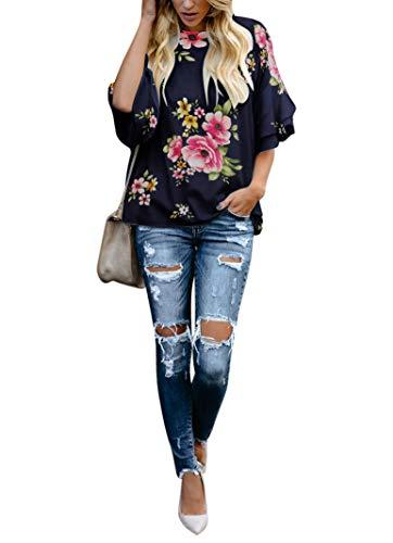 Tiered Sleeve Top - BELONGSCI Women's Elegant Trumpet Sleeve Casual Blouses Shirt Half Tiered BellSleeve Crewneck Loose Tops Shirts