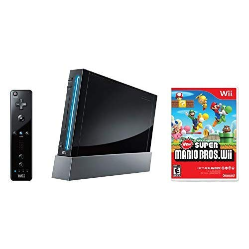 Nintendo Wii Console, Black with New Super Mario Bros Wii (Renewed)