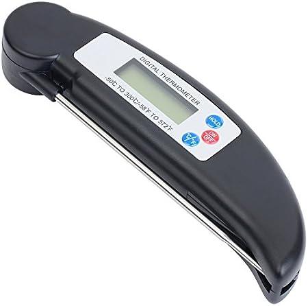 AVAX DT-X (TM) - termómetro de cocina Digital LCD plegable sonda de vino, comida, carne, carne, Turquía, barbacoa, Yerba Mate, leche, azúcar, etc. - Rango de temperatura: - 50C para tareas con otros / - 58F al 572F - Negro