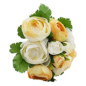 IPOPU Artificial Flowers, 10 Heads Tea Rose Silk Camellia Bride Holding Flowers Wedding Bouquet Home Office Decor Fake Flower (Yellow White) 12
