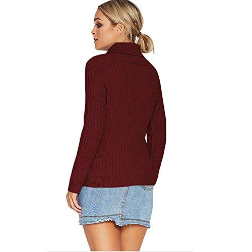 Le Le Le maglione maglia del a manicotto del nuove signore il manicotto collare di inverno maglione del lungo autunno ed ad pullover adattano alta del red UzU1rwx