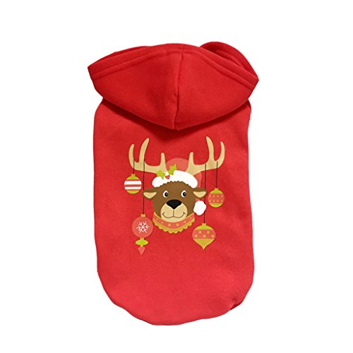 Christmas Pet Coat Clothes Apparel Hoodie Costume with Cap for Winter for Cat Small Dog Puppy Red (Dog in Antler Hat) M