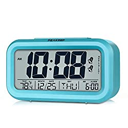 Peakeep Digital Alarm Clock with 2 Alarms for Optional Weekday Mode, Snooze, Smart Sensor Night Light, Battery Operated Only (Blue)