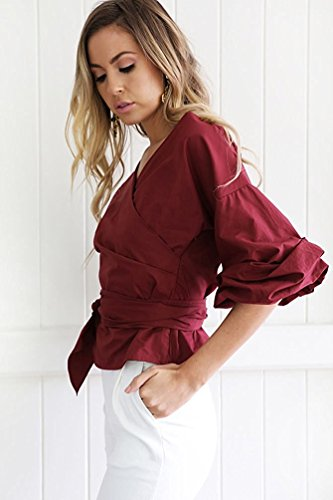 Da Camicia Vino Elegante Lunga Tomwell A Frontale Maglie Collo V Casual Tops Manica Donna Blusa Rosso Cravatta Sn7STIZgwq