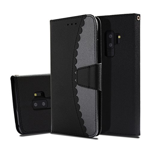 Galaxy S9 Plus Case, UZER Premium PU Leather Flip Folio Wallet Case with Kickstand Card Holder ID Slot and Hand Strap Shockproof Protective Cover Durable Magnetic Book Case for Samsung Galaxy S9 Plus