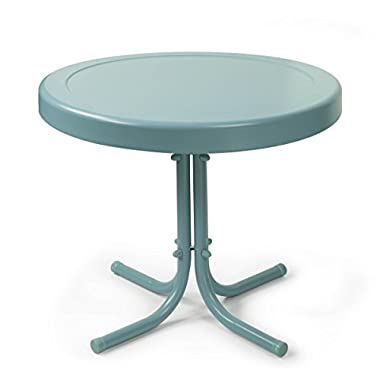 Crosley Retro Metal Side Table, Caribbean Blue