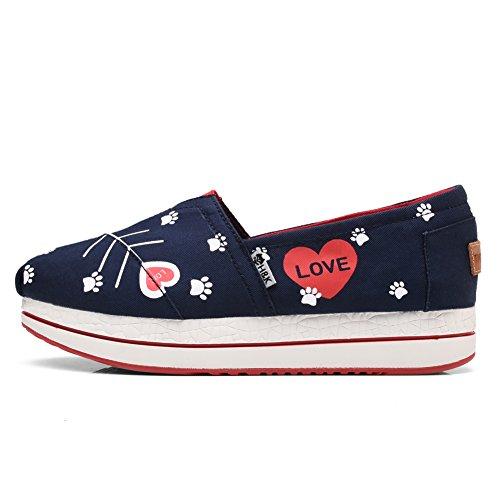 TIOSEBON Womens Canvas Slip-on Toning Shoe Walking Sneaker 6602 Blue KZ7QL8FU