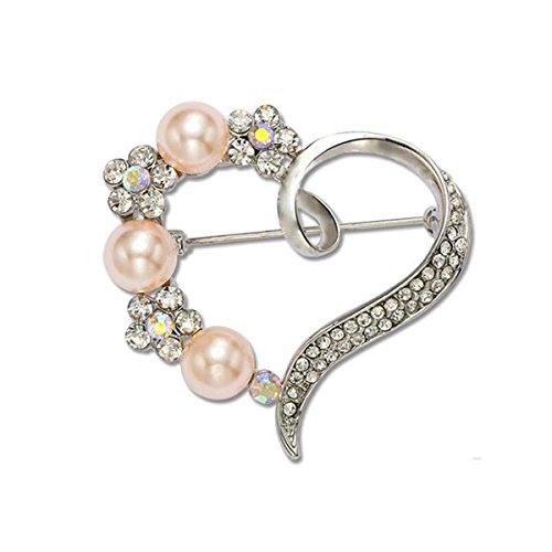 Grtdrm Created Rhinestone Crystal Brooch, Creative Beautiful Heart Style Fashion Pin Gift for Women Girls (Silvery) ()