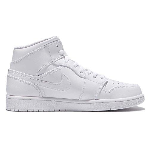 Nike Air Jordan 1 Mid Mannen Basketbalschoenen Ivoor (wit Zuiver Platina Wit 104)