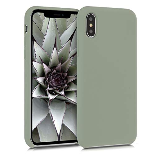 kwmobile TPU Silicone Case Compatible with Apple iPhone X - Soft Flexible Rubber Protective Cover - Gray Green