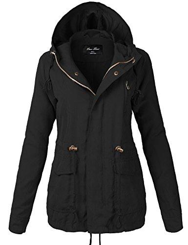 Plus Size Zipper Waist Drawstring Hooded Utility Jackets,118-black,US (Basic Logo Wool Blend)