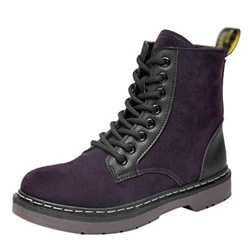 Baymate Warm Martin Stiefel Gefütterte Stiefeletten | Damen Worker Boots | Outdoor Winterstiefel | Schneestiefel Boots Braun