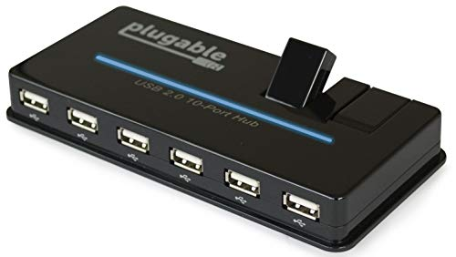 Plugable USB Hub, 10 Port - USB 2.0 with 20W Power Adapter and Two Flip-Up Ports (6 Plug Port Chain Iphone)