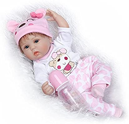 Nicery Reborn Baby Doll Soft Silicone Girl Toy 22inch 55cm Pink Star Eyes Close