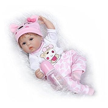 iCradle Reborn Dolls Reborn Realista Silicona Suave de Vinilo Lifelike Bebé Reborn Niña Nacido Regalo de Juguete 17 Pulgadas 43cm