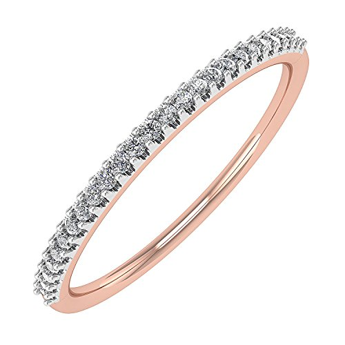 0.07 carat 10K Rose Gold Round Diamond Ladies Anniversary / Wedding stackable Band Ring - IGI Certified