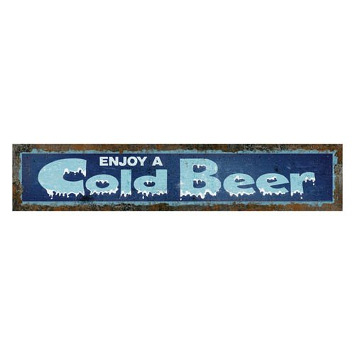 Rivers Edge Products Heavy Metal Sign, 19.3-Inch by 3.5-Inch, Cold Beer