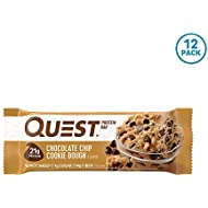 Quest Nutrition Chocolate Chip Cookie Dough Protein Bar, High Protein, Low Carb, Gluten Free, Soy Free, Keto Friendly, 12 Count