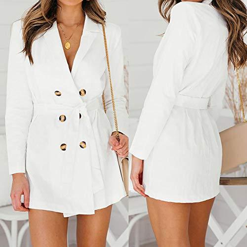Blanco Botones Mujer Chaquetas Invierno Daylin Para Otoño 2018 Moda Abrigos Blazers Larga Manga 110z4