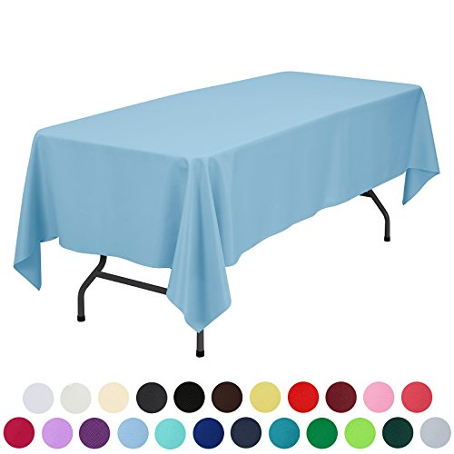 VEEYOO 60 x 102 inch Rectangular Solid Polyester Tablecloth for Wedding Restaurant Party, Baby (Vibrant Blue Vinyl)
