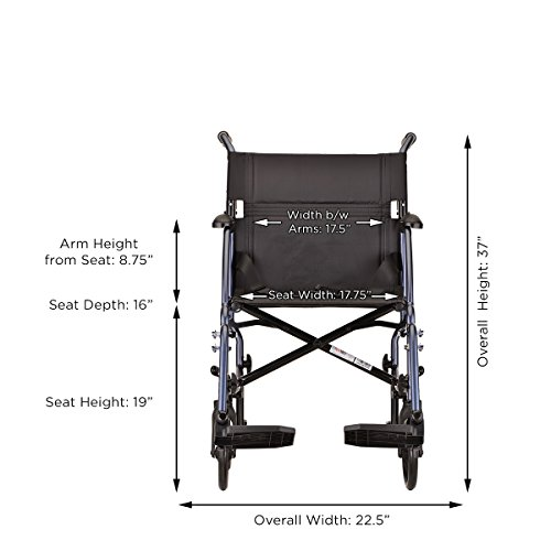 NOVA Medical Products Lightweight Transport Chair, Blue, 18 Inch, 20 Pound by NOVA Medical Products (Image #4)