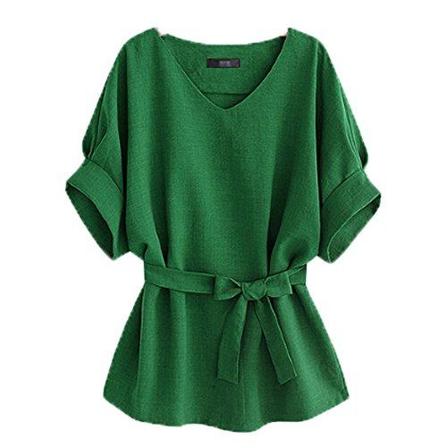 (Moshow V-Neck Short Sleeve T-Shirt Hemp Blouse Summer Tops Tees Green)