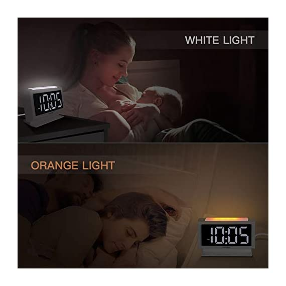 Housbay Digital Alarm Clocks for Bedrooms - Handy Night Light, Large Numbers with Display Dimmer, Dual USB Chargers, 12/24hr, Outlets Powered Compact Clock for Nightstand, Desk, Shelf - 【LARGE 5.3'' LED DISPLAY WITH 1.8'' JUMBO DIGITS】- This large led display makes it easy for anyone to check the time from across the room. The full range dimmer facilitates time viewing at all times. Great choice for your bedside and kids' room 【HANDY 2-COLOR NIGHT LIGHT】- White and orange. The brightness-adjustable night light will come in handy especially for baby's nighttime feedings and diaper changes, comforting child to sleep with gentle light on and lighting up the path to bathroom 【HANDY DUAL USB CHARGERS】- It comes with dual USB ports at the back to charge your phones, tablets, or other 5V electronics - clocks, bedroom-decor, bedroom - 41OVbYwhiGL. SS570  -