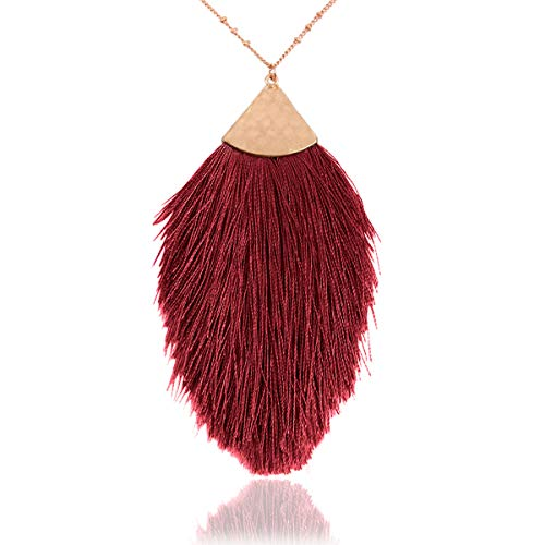 RIAH FASHION Bohemian Fringe Tassel Pendant Statement Necklace - Silky Strand Semi Circle Fan Charm, Teardrop Thread, Freshwater Pearl Charm Long Chain (Petal Tassel - Burgundy)