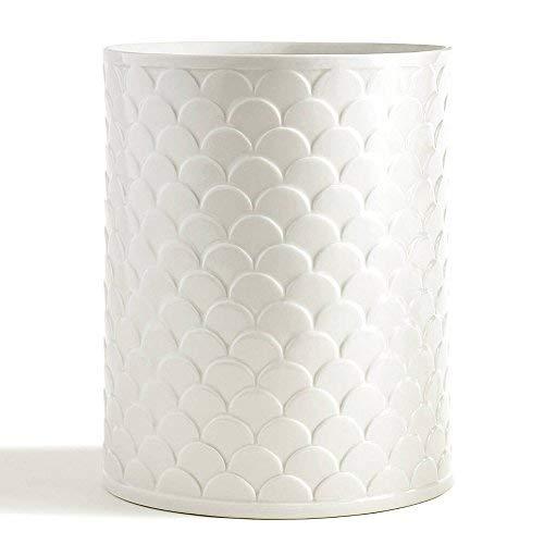 Waste Basket, Kassatex Scala Bath Accessories | Embossed Porcelain ()