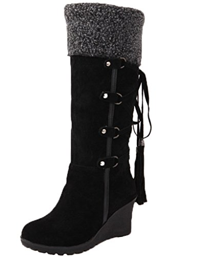 Minetom Mujer Invierno Boots Calentar Botas De Nieve Skidproof Felpa Algodón Acolchado Cuña Zapatos Negro