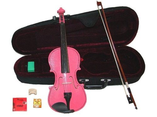 GRACE 15 inch Pink Student Viola with Case, Bow+2 Sets Strings+2 Bridges+Pitch Pipe+Rosin by Grace