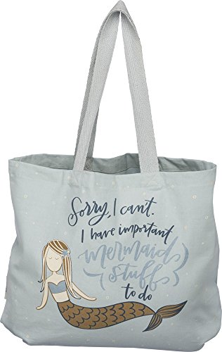 Primitives by Kathy 39993 Lettered Life Tote Bag, Large, I Have I Have Important Mermaid Stuff To Do