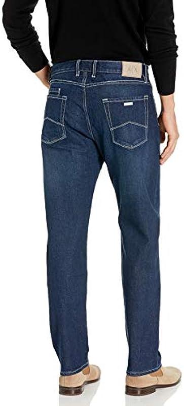Armani Exchange A|X Męskie Straight Pant with Rips and Repairs Jeans, Indigo Denim, 47: Odzież