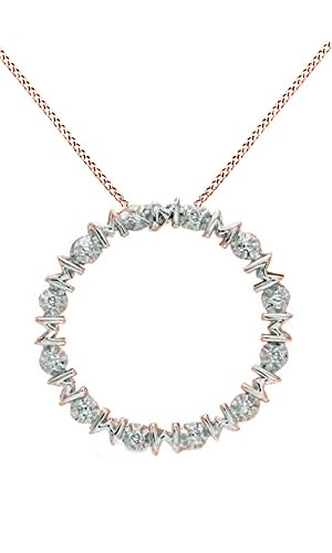Jewel Zone US White Natural Diamond Accent Mom Circle Pendant Necklace 14k Rose Gold Over Sterling Silver (Necklace Circle Diamond Accent)