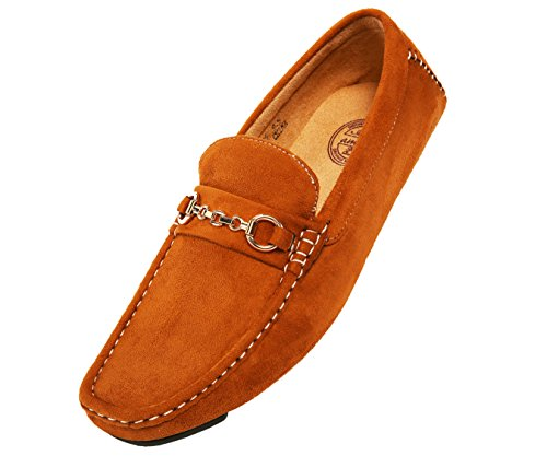 (Amali Men's Microfiber Slip-On Loafer with Chain Ornament, Comfortable Driving Moccasins, Style Ecker Cognac)