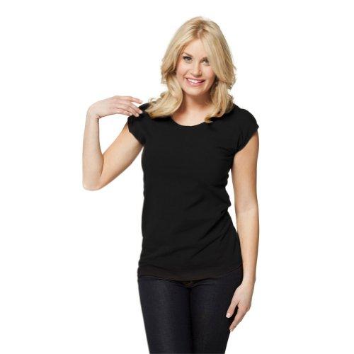 Modbod Modest Layering Scoop Neck Cap Sleeve Shirt - Extra Length (Large, Black) Cap Sleeve Tee