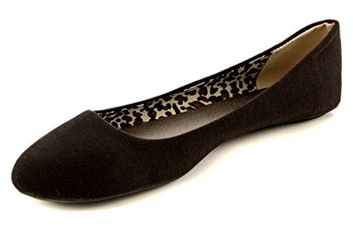 Charles Albert Womens Basic Round Toe Comfort Ballet Flats Black IG2J8N