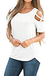 Adreamly Women S Casual Summer Short Sleeve Loose Strappy Cold Shoulder Tops Basic T Shirts Blouses Off White 2x Large