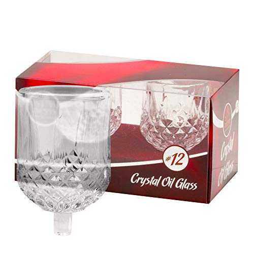 - Ner Mitzvah Shabbos Candle Glass Oil Cups - Crystal Looking Elegant Holders for Oil for Shabbat and Hanukkah - 2 Pack - Durable Quality, Long-Lasting