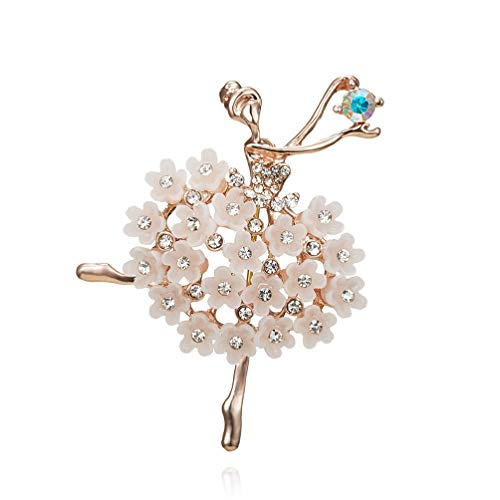 Eightgo Crystal Ballet Dancer Brooch Pins Jewelry Lapel Pin Corsage for Women(White)