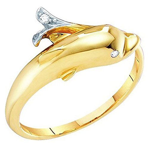 0.02 Carat (ctw) 10K Gold Round Cut White Diamond Ladies Dolphin Right Hand Ring